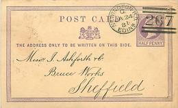UK. CP P 2 (Mi) Wellington B.O./Edinr > Sheffield 24/1/81 Duplex écossais 267  Repiquée   Trous D'archive - Poststempel