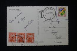 FRANCE - Taxes De Regny Sur Carte Postale De Halluin Posté En Belgique En 1959 ( Timbre Français Refusé ) - L 90470 - Lettres Taxées