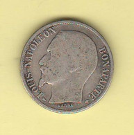 Francia 1 Franco 1852 A One Franc Napolèon III° Not Laureate Silver Coin Typological Coin - H. 1 Franc