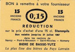 Ancien Ticket De Réduction D'une 75 Cl - Bière De BASSE YUTZ - 1967 - Unclassified