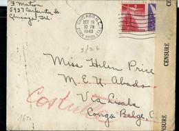Enveloppe (entière)  Obl.CHICAGO 19/10/1943  Pour Congo Belge  (LISALA 21/03/44 ) Ouverte Par Censure - Briefe U. Dokumente