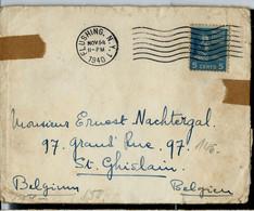 Enveloppe (entière)  Obl.FLUSHING 14/11/40  Vers Belgique  Ouverte Par Censure Allemande - Briefe U. Dokumente