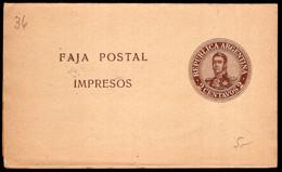 Argentina - Circa 1910 - Faja Postal - Bande Postale - General San Martin - 2 Ctv - A1RR2 - Brieven En Documenten