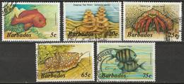 Barbados 1985 Sc 642//654  Partial Set 5 Values Used - Barbades (1966-...)