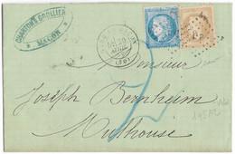 TIMBRES N° 60/1;  LETTRE  ; GRANDE CASSURE ;145 A2/  4 ème état ; N° 28 ( 10 C Lauré)+ Taxe  AMBULANT ; GARE DE MACON;TB - 1871-1875 Cérès