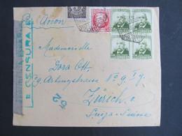 BRIEF Barcelona - Zürich Flugpost  Zensur 1938  ///   D*48620 - 1931-50 Briefe U. Dokumente