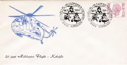 Enveloppe Elström 1582 Koksijde Hélicoptère Helicopter Flight - Cartas