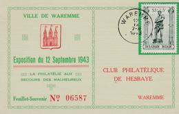 616 Ville De Waremme Exposition La Philatélie Aux Secours Des Malheureux - Briefe U. Dokumente
