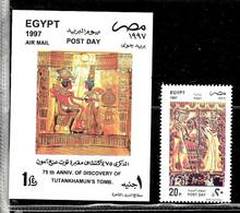 #8071 EGYPT 1997 ARCHEOLOGY  DISCOVERY TUTANKHAMUM TOMB 75°ANIV SET+S/S YV 1584+BL 62 MNH,NEUF,POSTFRISCH - Archaeology