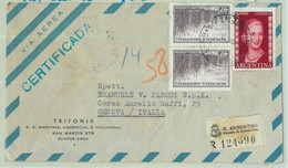 96900 - ARGENTINA - POSTAL HISTORY Registered  Airmail COVER To ITALY 1954 Evita - Briefe U. Dokumente