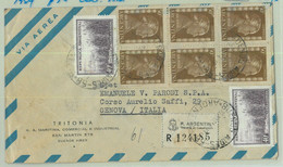 96902 - ARGENTINA - POSTAL HISTORY Registered  Airmail COVER To ITALY 1954 Evita - Briefe U. Dokumente