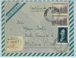 96905 - ARGENTINA - POSTAL HISTORY Registered  Airmail COVER To ITALY 1954 Evita - Briefe U. Dokumente