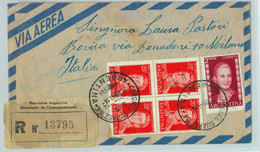 96907 - ARGENTINA - POSTAL HISTORY Registered  Airmail COVER To ITALY 1955 Evita - Briefe U. Dokumente