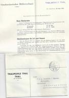 """Drucksache  """"Thalmühle Thal"""" - St.Margrethen  (mit Inhalt)           1942 - Briefe U. Dokumente"""