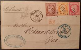 France 1875 N°38+57,58 Ob GC 5104 Shang-hay Chine 2/12/75 Pour Lyon  TTB - 1871-1875 Cérès