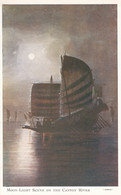 China, Moon-light Scene On Canton River, Sailboat Junk, C1920s/30s Vintage Postcard - China