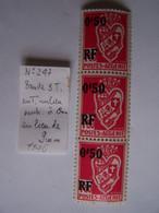 ALGERIE 1946 NEUFS Bande X 3 Avec VARIETE SUR TIMBRE DU MILIEU - Neufs
