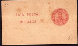 Argentina - Circa 1910 - Faja Postal - Bande Postale - San Martin En Medallon - 1/2 Ctv - A1RR2 - Briefe U. Dokumente