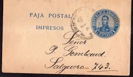 Argentina - Circa 1910 - Faja Postal - Bande Postale - San Martin En Medallon - 1 Ctv - A1RR2 - Brieven En Documenten