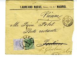 ESPAÑA 1884 RARA FRANQUEO MIXTO CON TIMBRE MOVIL 10c Y 5c De MADRID  Hasta POITIERS  (F)  EL720 - Covers & Documents