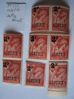 ALGERIE 1945-1947 VARIETE  TYPE IRIS CHIFFRE DECALE NEUF X 8 (paire Verticale + 2 Paires Horizontales + 2 Individuels) - Neufs