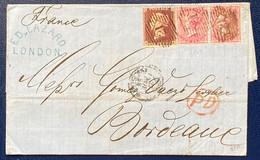 Angleterre Lettre De 1858 N°10 1penny Brun Rouge & N°17 (moyenne Jarretière) En Paire Obl GC 21 Pour Bordeaux RR - Briefe U. Dokumente