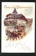Lithographie Oberammergau, Post Und Postkutsche - Poste & Postini