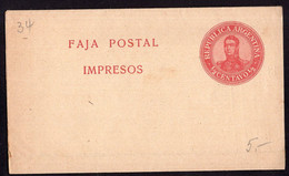 Argentina - Circa 1910 - Faja Postal - Bande Postale - San Martin En Medallon - 1/2 Ctv - A1RR2 - Brieven En Documenten