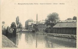 """/ CPA FRANCE 59 """"Marquette Lez Lille, Canal De Roubaix, écluse, Moulins"""" - Otros Municipios"""