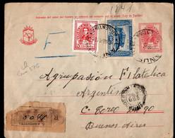 Argentina - 1946 - Lettre - Par Avion - Envoye En Argentina A1RR2 ENTERO POSTAL CERTIFICADO CON FRANQUEO ADICIONAL RARE - Briefe U. Dokumente