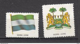 ##4, Sierra Leone, Vignette, Cinderella, Drapeau, Flag, Armoiries, Coat Of Arms, Noix De Coco, Coconut - Sierra Leone (1961-...)