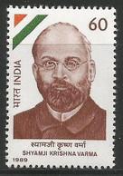 INDIA 1989 STAMP SHYAMJI KRISHNA VARMA  (NATIONALIST) . MNH - Neufs