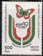 INDIA 1989 STAMP 8TH. TRACK AND FIELD EVENT , SPORTS, BUTTERFLY  . MNH - Neufs