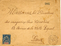 1902- Enveloppe Affr. Groupe 15 C Guadeloupe Et Dépendances  + Cad Octog. COLON A St NAZAIRE / L.A. N°1 - Lettres & Documents