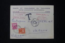 FRANCE - Taxes De Verson Sur Enveloppe Administrative Du Calvados En 1955 - L 90484 - Lettres Taxées