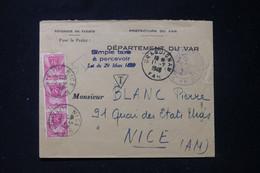 FRANCE - Taxes De Nice Sur Enveloppe Administrative Du Var En 1949 - L 90485 - Lettres Taxées