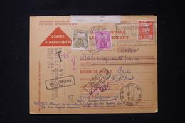 FRANCE - Taxes De Paris Sur Carte Contre Remboursement De Paris En 1953 - L 90487 - Lettres Taxées