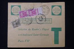 FRANCE - Taxes De Paris Sur Enveloppe Réponse Commerciale En 1951 - L 90488 - Lettres Taxées