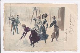 CP  ILLUSTRATEUR Femmes Scene Hivernale Neige - 1900-1949