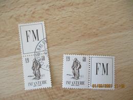 Lot De 2 Infanterie F M 1940 Franchise Militaire Vignette Timbre Eronnophilie - Vignettes Militaires