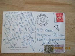 Lettre Taxee  A 24 F  2 Timbre Gerbe Gerbes 20 Et 40 Sur Lettre En Franchise Postale Militaire - Lettres Taxées