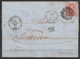 "L. Affr. N°15 Recouvert Par N°16 ! P24 Càd BRUXELLES /10 NOV 1863 Pour TARARE (Rhône) - Càd ""BELG.AMB.ERQUELINNES"" - [PD - 1863-1864 Médaillons (13/16)"