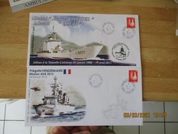 Lot De Poste Navale 6  Lettre  Enveloppe Illustree Jeanne D Arc Porte Helicoptere Et Noumea  Mission Asie - Seepost