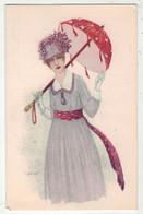 Illustrateurs  Signé // Femme Avec Une Ombrelle - Other Illustrators