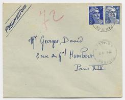 GANDON 6FR BLEU +4FR BLEU PNEUMATIQUE PARIS 9.2.1946 AU TARIF - 1945-54 Marianna Di Gandon