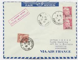 ALGERIE GANDON 3FR X2 LETTRE AVION BONE 25.11.1947 POUR MARSEILLE TAXE 3FR POSTE RESTANTE - 1945-54 Marianne (Gandon)