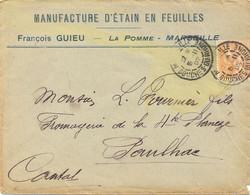 MARSEILLE BOUCHES-DU-RHONE TàD 15-11-02 MANUFACTURE D'ÉTAIN EN FEUILLES FRANÇOIS GUIEU – LA POMME – - 1877-1920: Semi Modern Period
