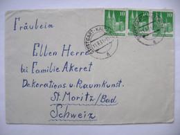 Germany Brief 1951 - Stuttgart Kaltental Nach Schweiz Switzerland, 3x 10 Pf. - Lettres & Documents