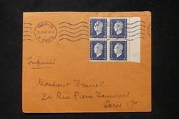 FRANCE - Enveloppe De Paris Pour Paris En 1945, Affranchissement Dulac 40c En Bloc De 4 - L 90560 - 1921-1960: Periodo Moderno