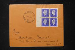 FRANCE - Enveloppe En Pneumatique De Paris Pour Paris En 1945, Affranchissement Dulac 40c En Bloc De 4 - L 90561 - 1921-1960: Periodo Moderno